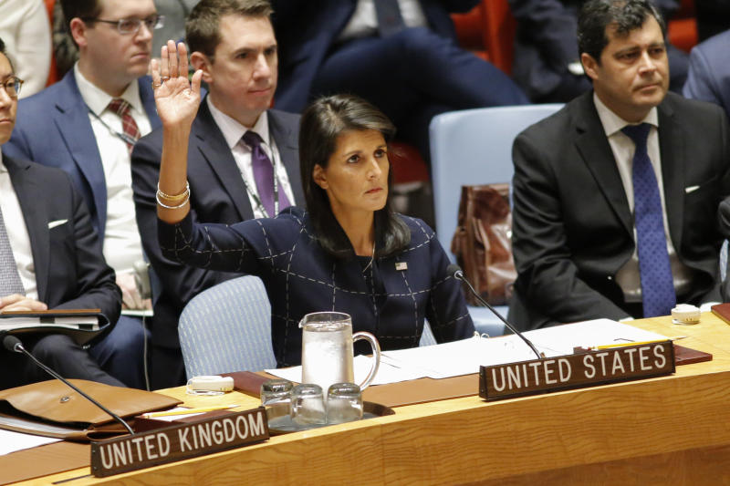 United States Ambassador to the United Nations Nikki Haley voted Monday at a U.N. Security Council meeting to impose new sanctions against North Korea. (KENA BETANCUR via Getty Images)