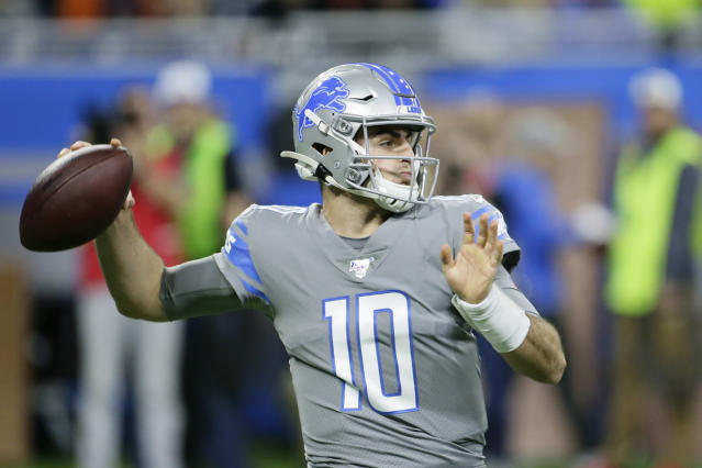 Detroit Lions quarterback David Blough throws during the first half of an NFL football game against the Chicago Bears, Thursday, Nov. 28, 2019, in Detroit. (AP Photo/Duane Burleson)
