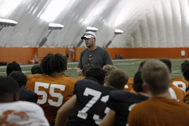 Texas Longhorns head coach Tom Herman talks with the team during practice Wednesday Sept. 4, 2019 in Austin, Tx. ( Photo by Edward A. Ornelas )