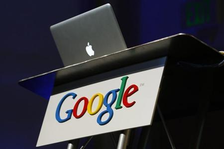 Apple computer shown as Google introduces Buzz in Mountain View