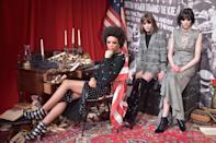 <p>Models wear a mixture of gray suiting, dresses, and embellished looks at the female-empowered Alice + Olivia FW18 presentation. (Photo: Getty Images) </p>