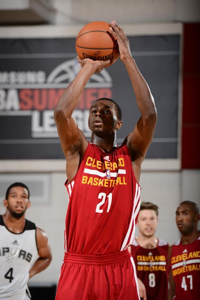 LAS VEGAS, NV - JULY 13: Andrew Wiggins #21 of the Cleveland Cavaliers shoots free throws during the game against the San Antonio Spurs on July 13, 2014 at Cox Pavilion in Las Vegas, Nevada. (Photo by Garrett Ellwood/NBAE via Getty Images)