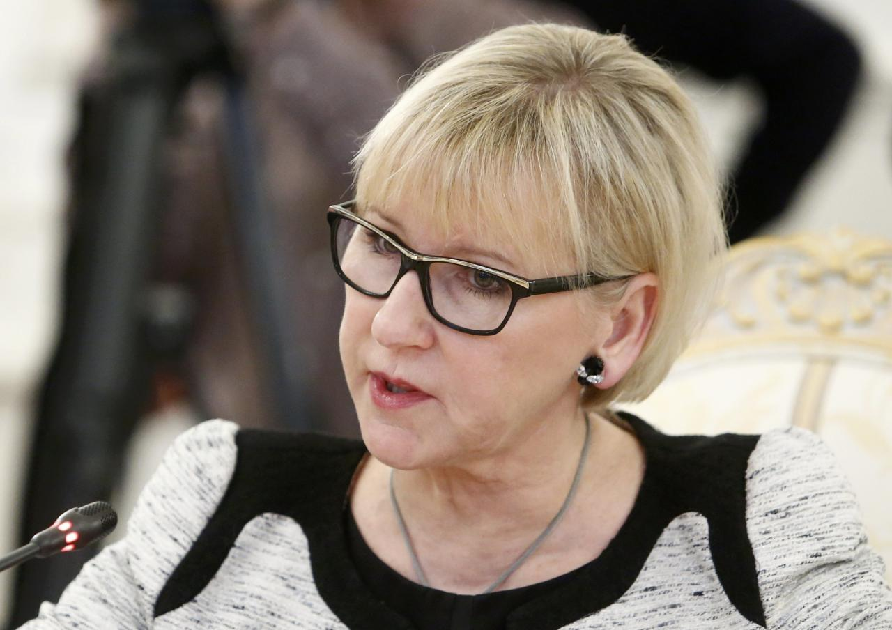 Swedish Foreign Minister Margot Wallstrom speaks during a meeting with her Russian counterpart Sergei Lavrov in Moscow, Russia, February 21, 2017. REUTERS/Sergei Karpukhin