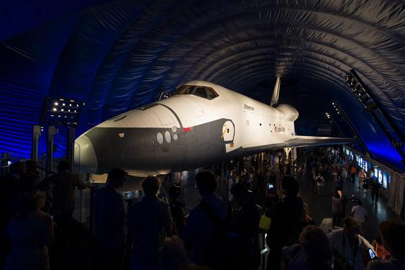 The space shuttle Enterprise is seen shortly after the grand opening of the Space Shuttle Pavilion at the Intrepid Sea, Air & Space Museum on Thursday, July 19, 2012 in New York.