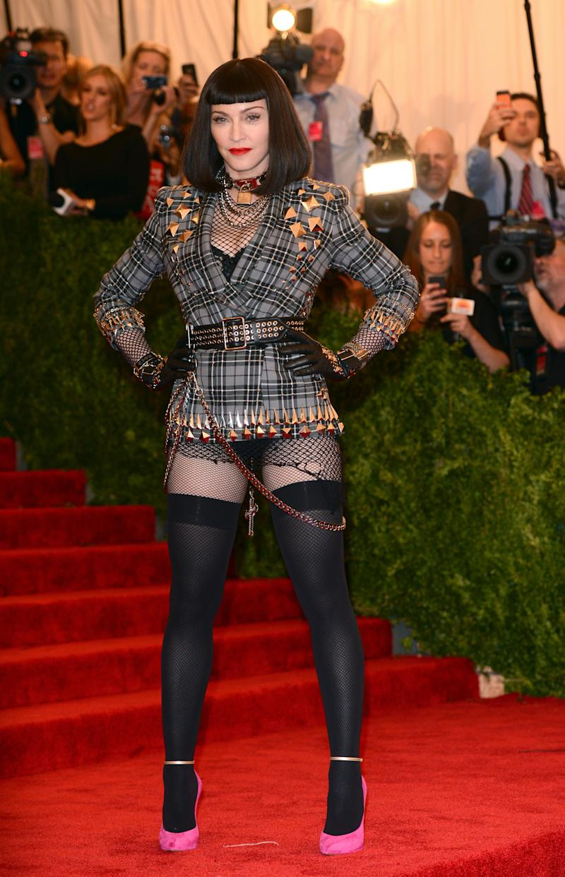 """Madonna in Givenchy at the 2013 Met Gala """"PUNK: Chaos to Couture."""" Photo by Karwai Tang/FilmMagic."""