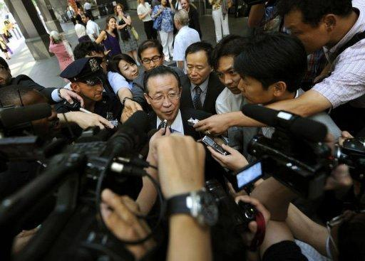 """North Korean Vice Foreign Minister Kim Kye-Gwan talks to the press as leaves his hotel in New York. The United States on Thursday pressed North Korea to take """"concrete and irreversible"""" steps to give up its nuclear arsenal at talks on how to improve hostile relations"""