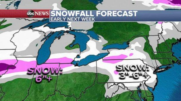 PHOTO: A wintery blast will hit a large part of the country as a couple of storms cross the nation, Jan. 22, 2021. (ABC News)