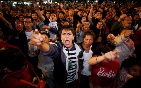 <span>Thousands of supporters of Mr Lopez Obrador crammed into the Zocalo square in Mexico City</span> <span>Credit: Reuters </span>
