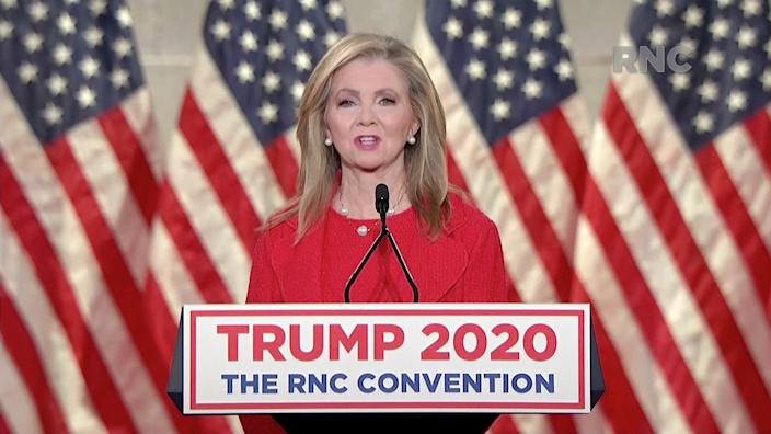 U.S. Senator?Marsha Blackburn?(R-TN) speaks during the largely virtual 2020 Republican National Convention broadcast from Washington, U.S. August 26, 2020.   2020 Republican National Convention/Handout via REUTERS   THIS IMAGE HAS BEEN SUPPLIED BY A THIRD PARTY?