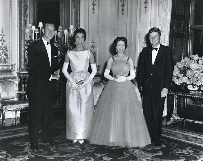 <p>Jackie and John F. Kennedy visited Buckingham Palace in 1961 and attended a banquet held in the president's honor</p>