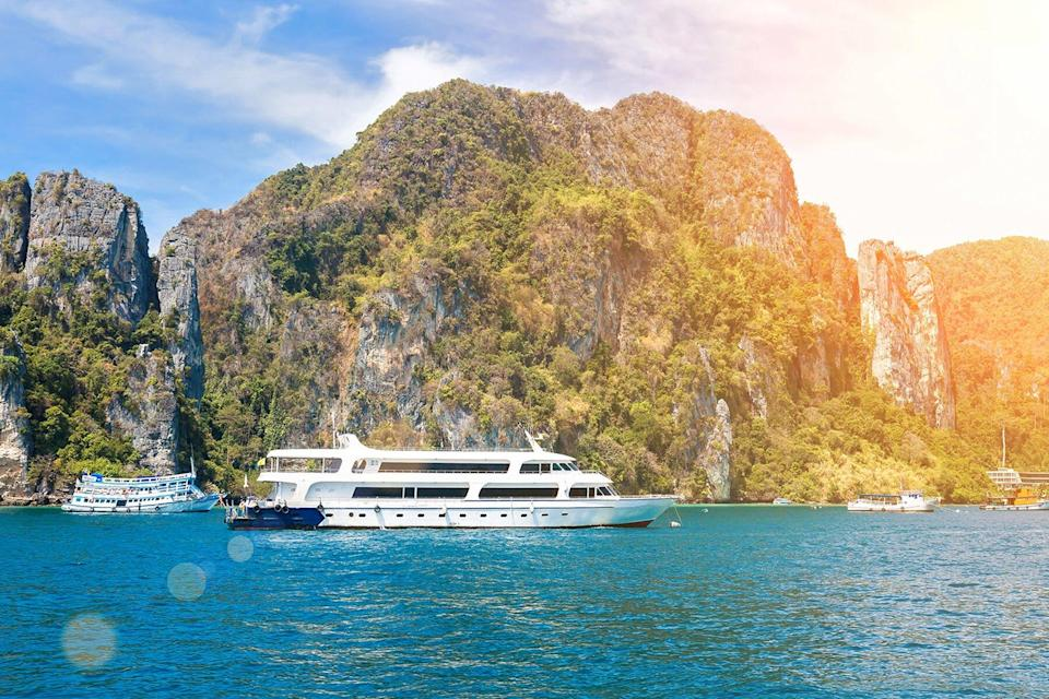 Small cruise ship in the waters of andaman sea