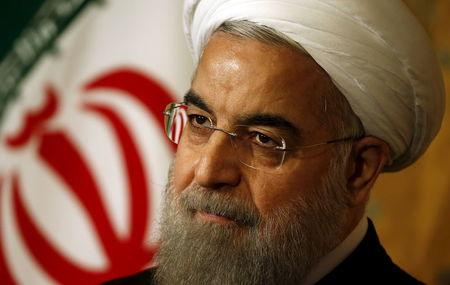 Iran President Hassan Rouhani at news conference in Rome