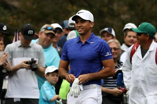 Jason Day is in good spirits at the Masters. (Getty)