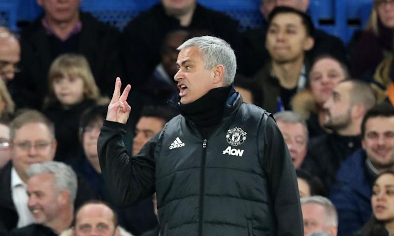 José Mourinho holds up a finger for each of the three titles he won as Chelsea manager during Manchester United's FA Cup defeat at Stamford Bridge in March