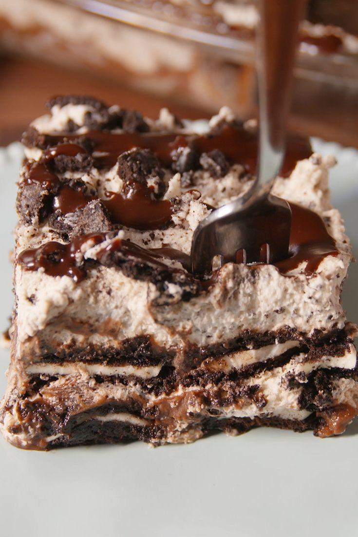 "<p>This layered dessert ""lasagna"" is heaven for Oreo lovers.</p><p>Get the recipe from <a href=""https://www.delish.com/cooking/recipes/a50062/oreogasm-lush-recipe/"" rel=""nofollow noopener"" target=""_blank"" data-ylk=""slk:Delish"" class=""link rapid-noclick-resp"">Delish</a>.</p>"