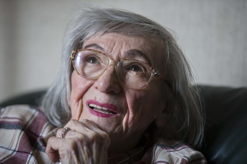"One of the food testers of Adolf Hitler, Margot Woelk speaks during an interview with The Associated Press in Berlin, Thursday, April 25, 2013. Margot Woelk was one of 15 young women who sampled Hitler's food to make sure it wasn't poisoned before it was served to the Nazi leader in his ""Wolf's Lair,"" the heavily guarded command center in what is now Poland, where he spent much of his time in the final years of World War II. Margot Woelk kept her secret hidden from the world, even from her husband then, a few months after her 95th birthday, she revealed the truth about her wartime role. (AP Photo/Markus Schreiber)"