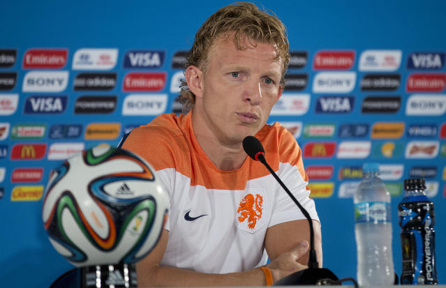 Netherlands' Dirk Kuyt attends a news conference at the Estadio Nacional in Brasilia, Brazil, Friday, July 11, 2014. The Netherlands will face Brazil in the World Cup third-place match Saturday. (AP Photo/Andre Penner)