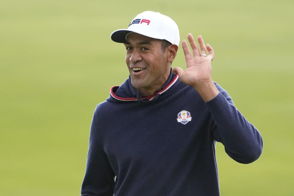 Team USA's Tony Finau gestures on the sixth hole during a practice day at the Ryder Cup at the Whistling Straits Golf Course Thursday, Sept. 23, 2021, in Sheboygan, Wis. (AP Photo/Jeff Roberson)
