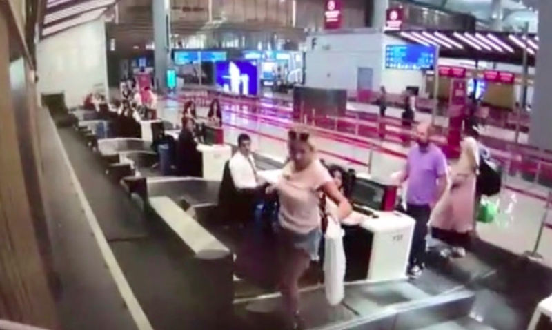 The first-time flyer got on the conveyor belt after checking in at Istanbul Airport (AsiaWire)
