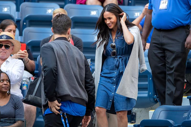 Meghan is greeted by Alexis Ohanian, Serena Williams' husband, as she arrives at the team box to watch Williams during the U.S. Open tennis tournament in New York City.