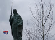 A new monument of Stefan Nemanja is seen on Sava Square in Belgrade, Serbia, Wednesday, Jan. 27, 2021. Serbia's President Aleksandar Vucic is to unveil a soaring monument of Stefan Nemanja, a 12th century Serbian ruler on Saint Sava Day, January 27. President Aleksandar Vucic's allies say it will be a new symbol of the Serbian capital while opponents think it is a monument to his populist rule. (AP Photo/Darko Vojinovic)