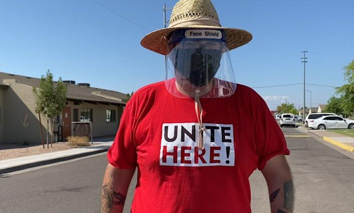"""Alex Rosado, a member of Unite Here Local 11 in Los Angeles, is hitting the streets as a canvasser in Phoenix, Ariz., for the rest of the election cycle to turn Arizona blue in the presidential election. """"I want to make sure that I'm one of the people responsible for getting [Trump] out of office."""" Photo courtesy of Maria Hernandez."""