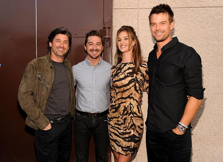 """<a href=""""http://movies.yahoo.com/movie/contributor/1800043748"""">Patrick Dempsey</a>, <a href=""""http://movies.yahoo.com/movie/contributor/1804503925"""">Shia LaBeouf</a>, <a href=""""http://movies.yahoo.com/movie/contributor/1810161759"""">Rosie Huntington-Whiteley</a> and <a href=""""http://movies.yahoo.com/movie/contributor/1804581818"""">Josh Duhamel</a> backstage at the 2011 MTV Movie Awards on June 5, 2011 in Universal City, California."""