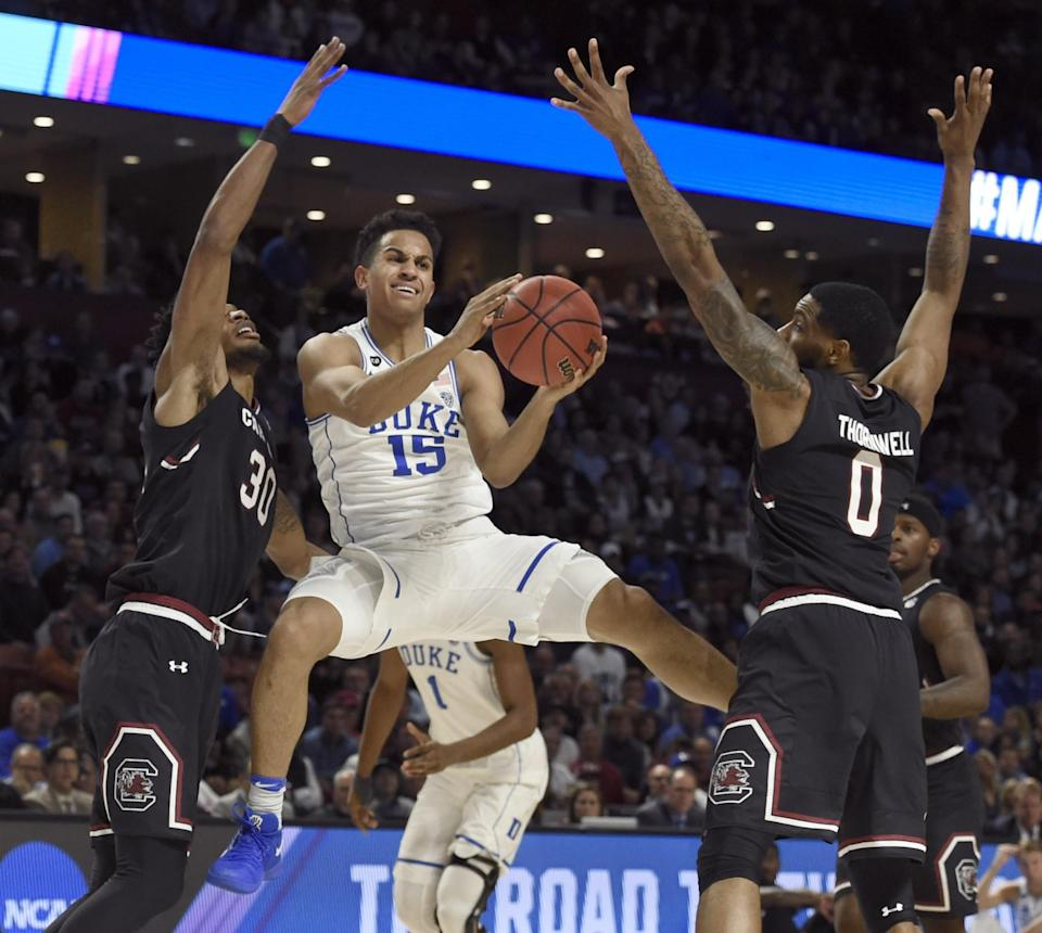 Duke's Frank Jackson looks to pass during the NCAA tournament. (AP)