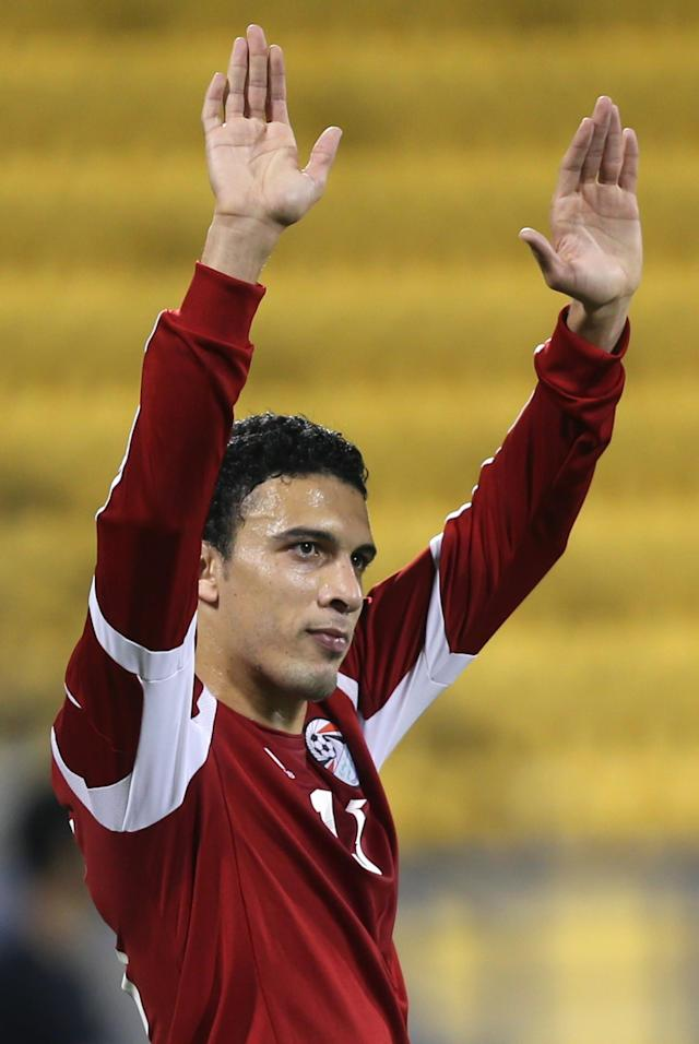 Egypt's Mohamed Nagi Gedo celebrates after scoring a second goal against Qatar during a friendly football match in the Qatari capital Doha on December 28, 2012. Egypt won 2-0. AFP PHOTO / AL-WATAN DOHA / KARIM JAAFAR == QATAR OUT == KARIM JAAFAR/AFP/Getty Images