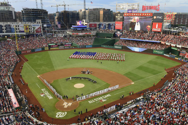 The pregame ceremony before the MLB All-Star Game at Nationals Park. (AP)