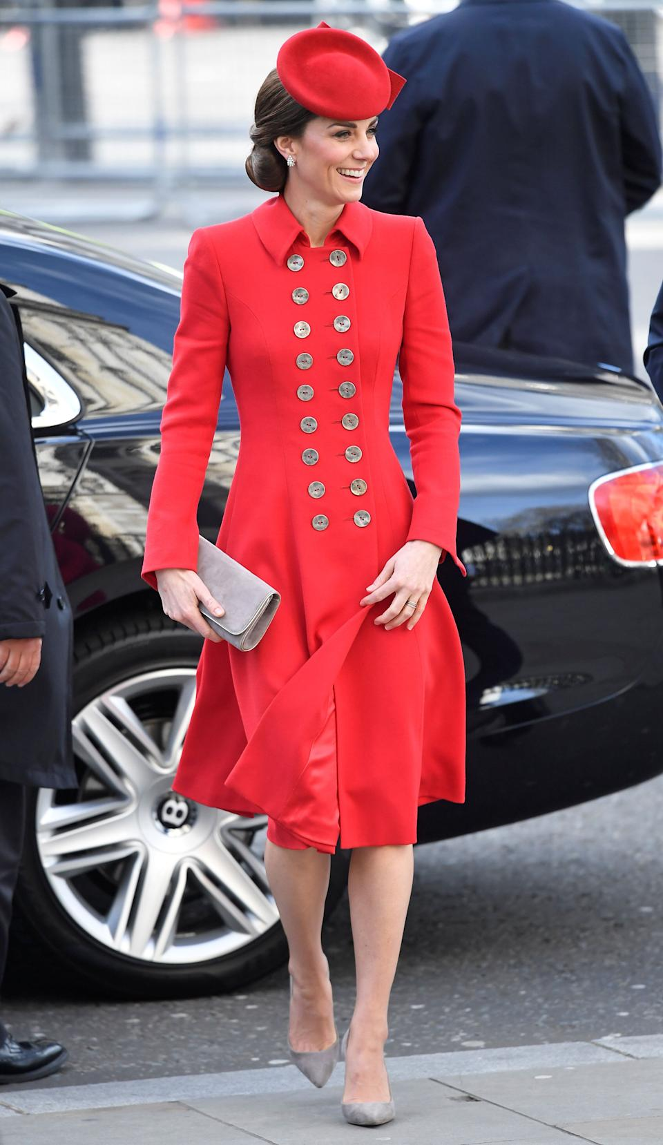 Kate arrives for the Commonwealth Service at Westminster Abbey on March 11.