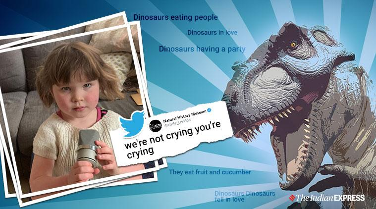 toddle dinosaur song, girl dinosaurs song, Dinosaurs in Love, baby viral singing video, indian express, viral tweet