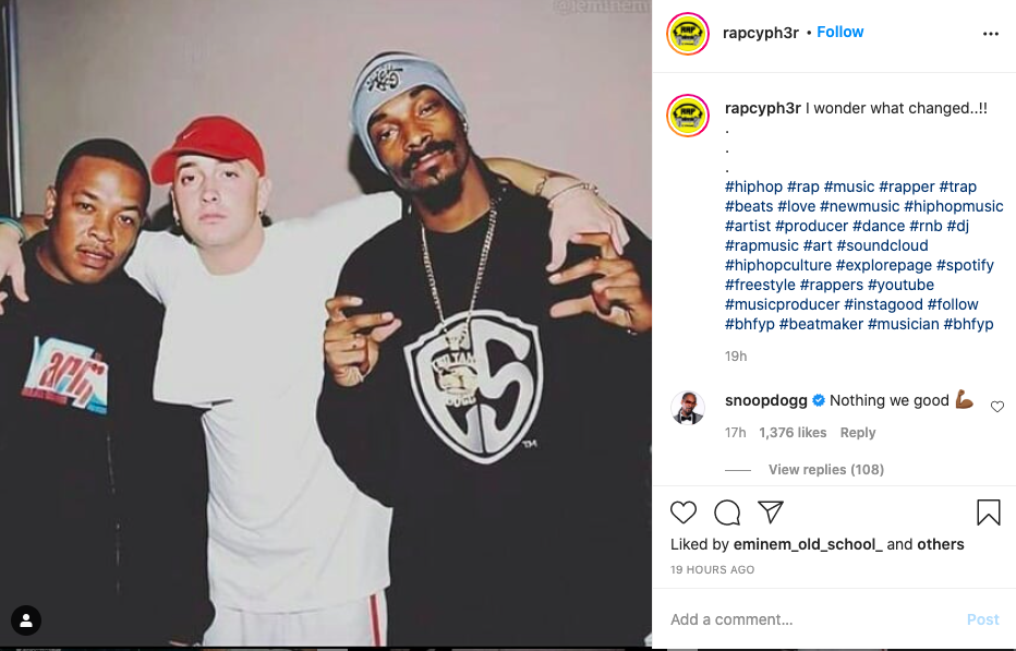 Snoop Dogg appears to end Eminem rivalry on instagramInstagram