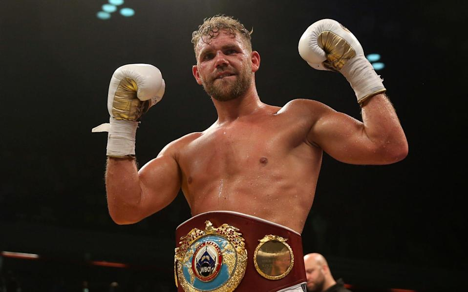 Billy Joe Saunders celebrates beating Willie Monroe Jnr in the WBO World Middleweight Championship - PA