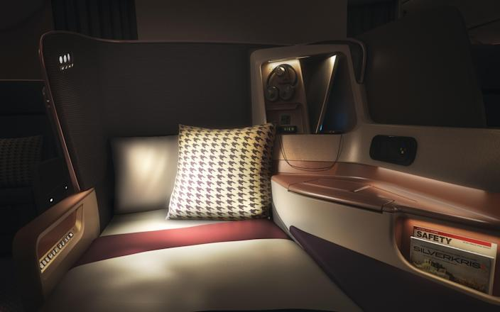Bed mode inside one of Singapore's new business-class seats.