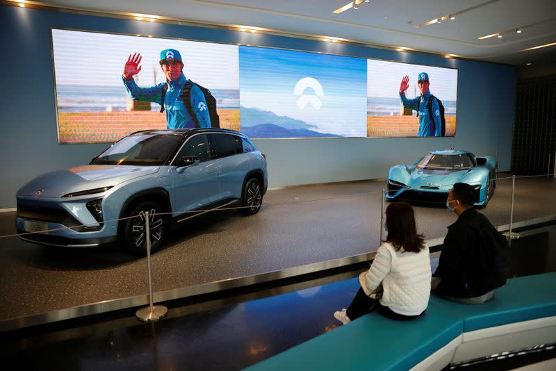 Nio electric cars are displayed at a Nio office in Shanghai