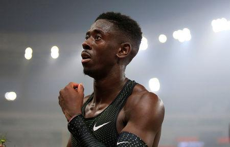 Athletics - Diamond League - Shanghai - Shanghai Stadium, Shanghai, China - May 12, 2018 Great Britain's Reece Prescod celebrates winning the men's 100m REUTERS/Aly Song