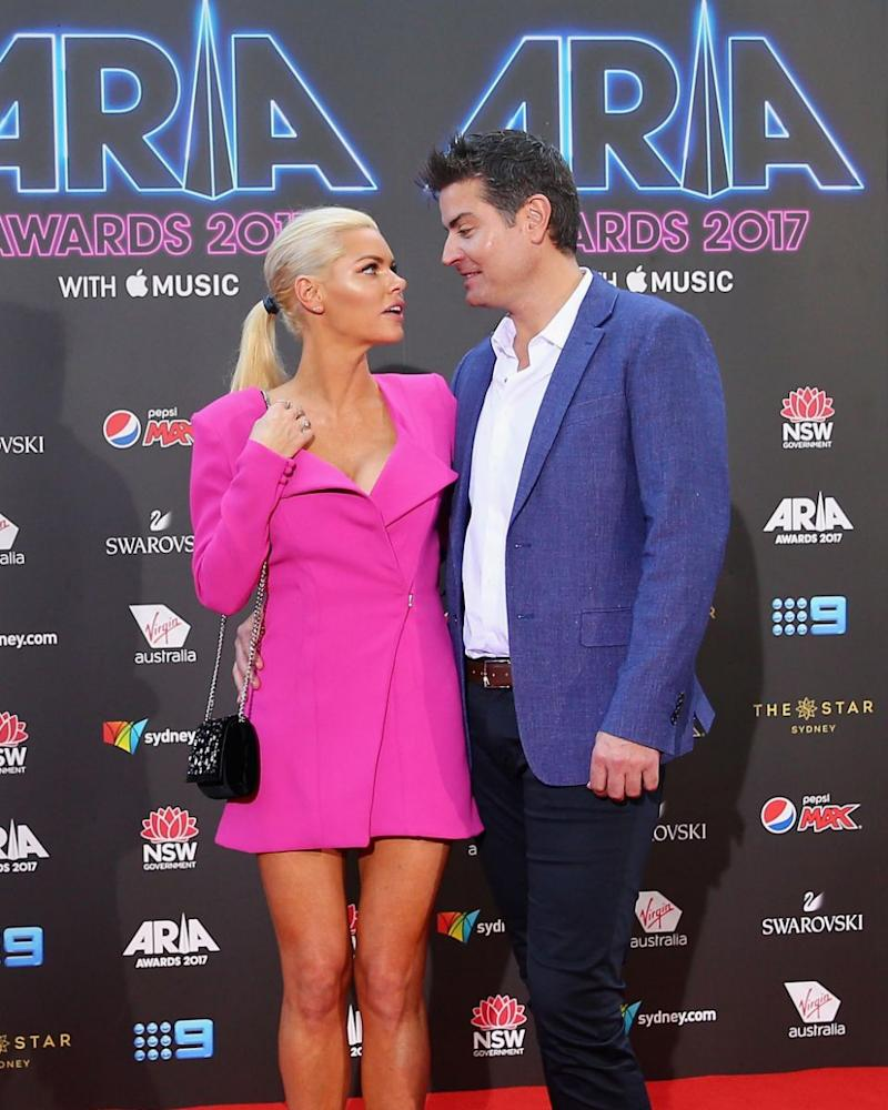 Sophie Monk announced she and Stu Laundy had parted ways last week. They former couple are pictured here at the 2017 ARIA Awards. Source: Getty