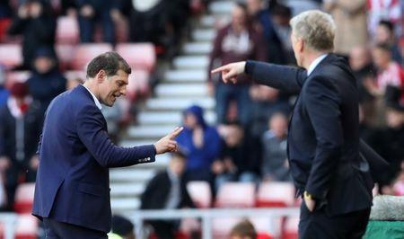 Britain Soccer Football - Sunderland v West Ham United - Premier League - Stadium of Light - 15/4/17 West Ham United manager Slaven Bilic and Sunderland manager David Moyes Reuters / Scott Heppell Livepic