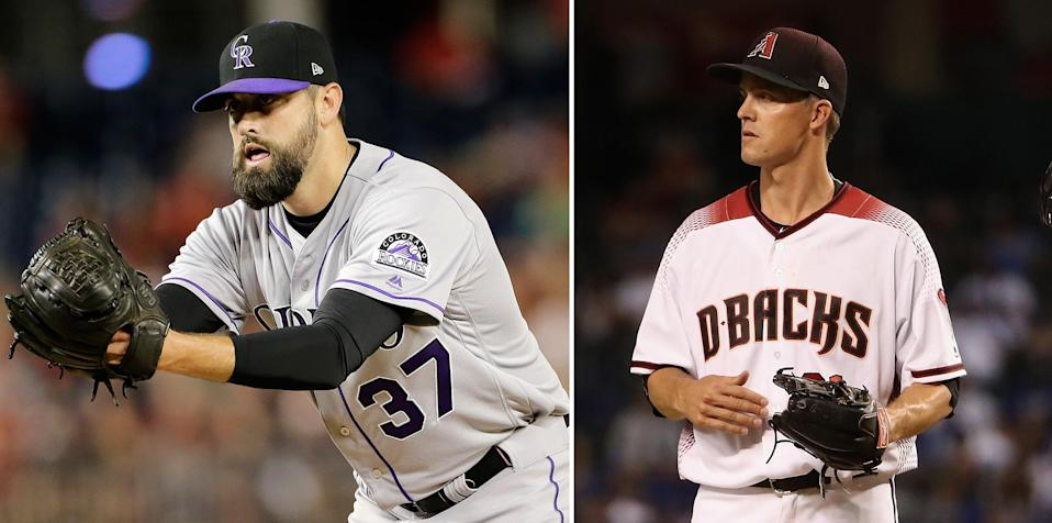 Pat Neshek (L) aired his beef with Zack Greinke on an online collecting forum. (AP/Getty Images)