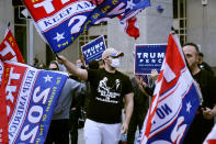 Supporter of President Donald Trump demonstrate outside the Pennsylvania Convention Center where votes are being counted, Thursday, Nov. 5, 2020, in Philadelphia, following Tuesday's election. (AP Photo/Matt Slocum)