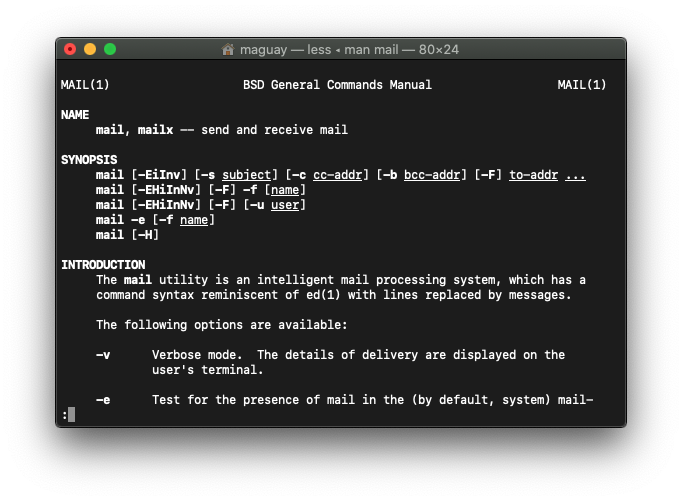 The mail command in macOS Terminal