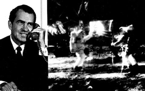 President Richard Nixon speaks on the phone to Armstrong from the White House - Credit: NASA