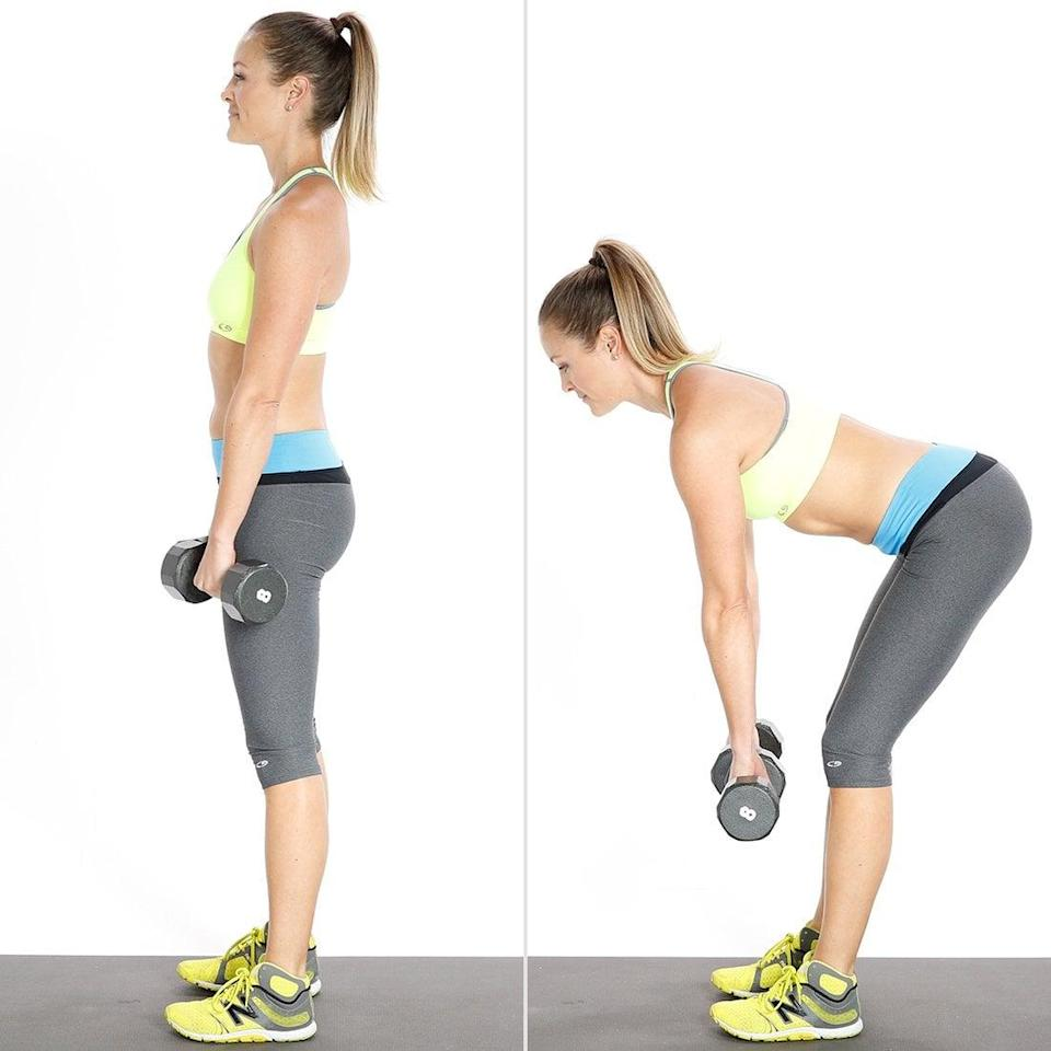 <ul> <li>Stand with your feet shoulder-width apart and holding a medium- to heavy-weight dumbbell in each hand. Keep your arms at your sides with your knees slightly bent and your core pulled toward your spine.</li> <li>Keeping your arms straight, core engaged, and knees slightly bent, slowly bend at your hips, not your waist, and lower the weights as far as possible without rounding your shoulders or back, which should remain straight. Looking forward, not at the ground, will help you avoid rounding your back. Keep the weights close to, almost touching, your legs. </li> <li>Squeeze your glutes to slowly pull yourself up. Be sure not to use your back or round your spine!</li> <li>This completes one rep. Complete as many reps as you can with proper form in 20 seconds.</li> </ul>