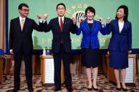 Candidates for the presidential election of the ruling Liberal Democratic Party pose for photographers prior to debate session held by Japan National Press club