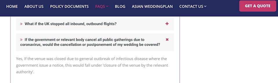 A screenshot from an FAQ on WeddingPlan's website suggesting disruption due to COVID-19 would be covered. Photo: WeddingPlan Policyholders group