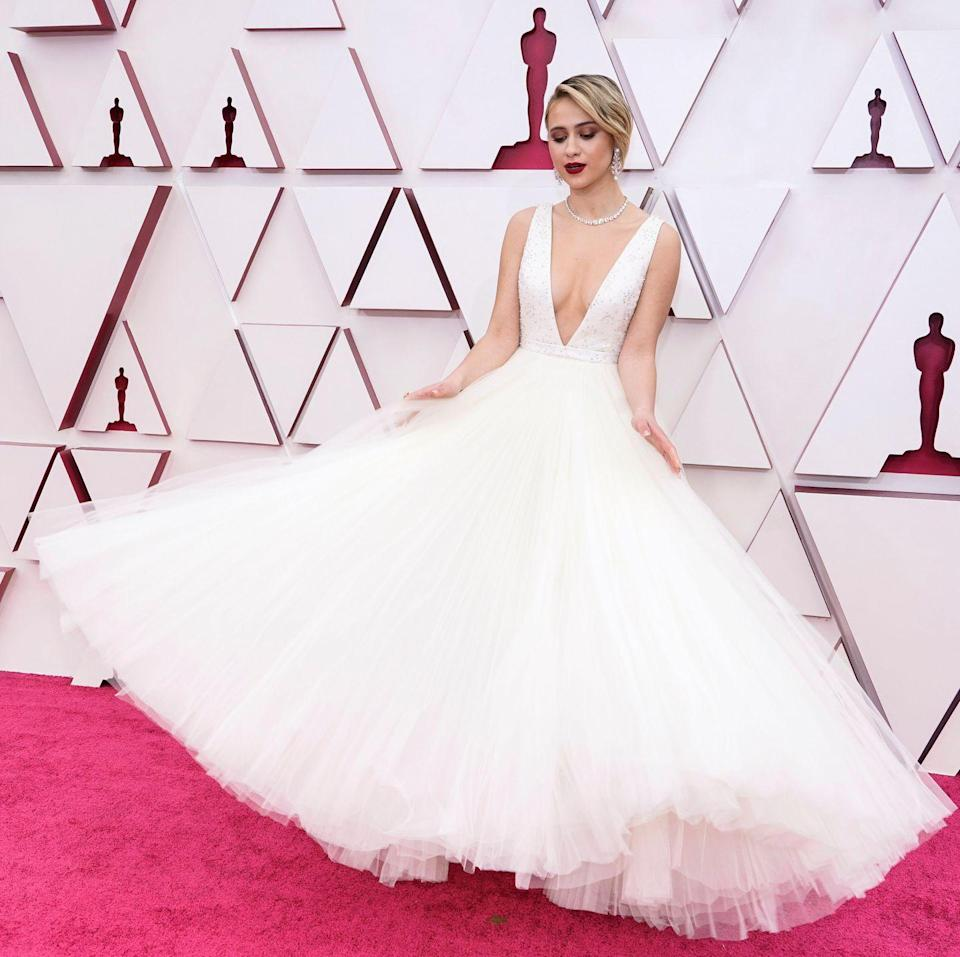 <p>Maria Bakalova in Louis Vuitton. Her dress was six-metres wide and featured 100 metres of tulle with a diamond-embellished neckline.</p>