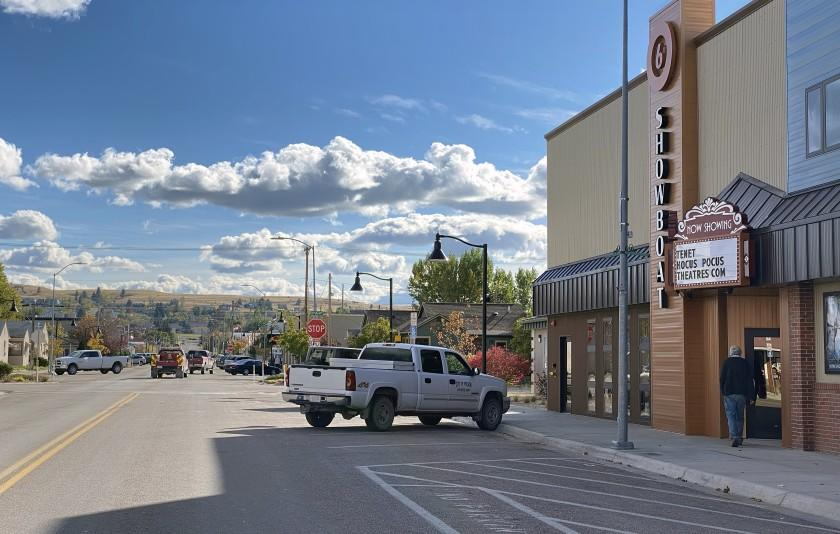"""Main Street in Polson, Montana where Christopher Nolan's film, """"Tenet"""" is showing at the Showboat Theater. Showboat Cinemas movie theater in Polson, Montana is showing """"Tenet"""" with social distancing requirements in place. Credit: Patricia Williams"""