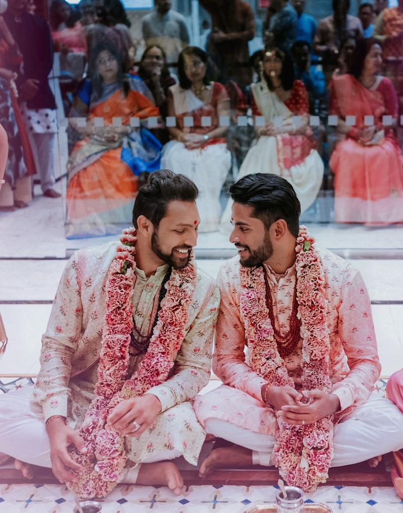 """The grooms before they performed the Hindu wedding custom of the four """"pheras:"""" walking in a circle around a sacred fire four times to represent different life goals. (Photo: <a href=""""https://www.charmipena.com/"""" target=""""_blank"""">Charmi Patel Peña</a>)"""