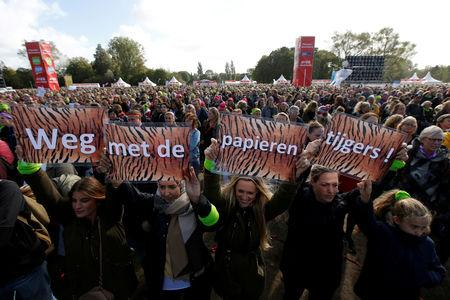 FILE PHOTO: Dutch primary school teachers rally during a strike to press demands for higher wages
